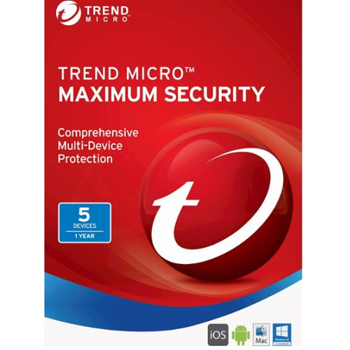 Trend Micro Maximum Security - 5 Devices, 1 Year (Download)